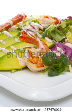 Grilled Shrimp salad with avocado