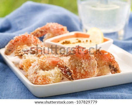 Grilled shrimp with coconut, selective focus - stock photo