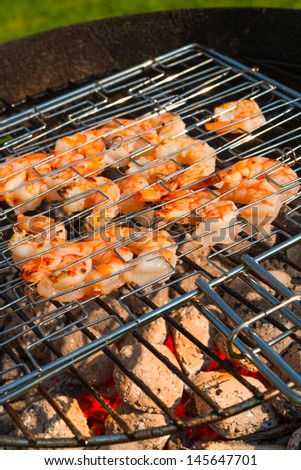 grilled shrimps - stock photo