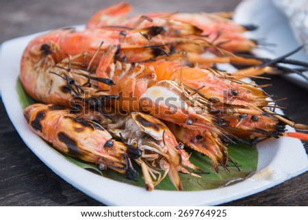 grilled shrimps,Thai seafood - stock photo