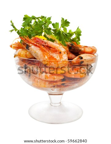 grilled shrimps with parsley  on white background - stock photo