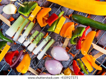 Grilled skewers and vegetables. Garden barbegue. - stock photo