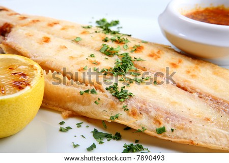 Grilled sole fish - stock photo