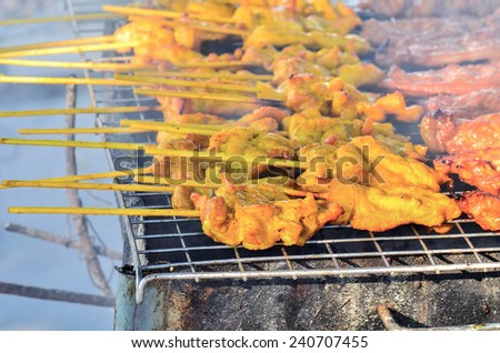 Grilled spices pork - stock photo