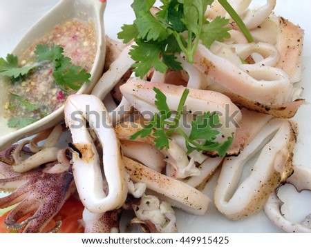 Grilled squid with seafood sauce, Thai Food - stock photo