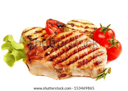 Grilled  steak and  vegetables isolated on white background - stock photo