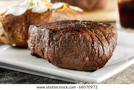 grilled steak dinner. - stock photo