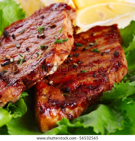 Grilled steak meat - stock photo
