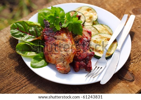 Grilled steak meat with vegetables