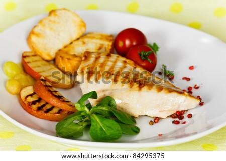 grilled steak of chicken breast - stock photo