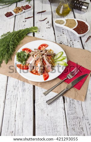 Grilled Steak Slices top view - stock photo