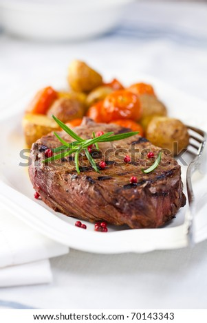 Grilled steak with baked vegetables and fresh rosemary - stock photo