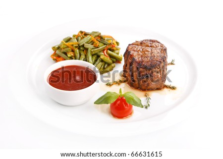 Grilled steak with vegetables