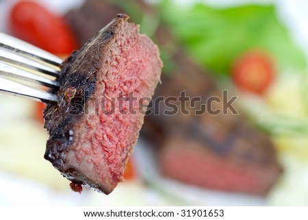 grilled strip steak with a chunk - stock photo
