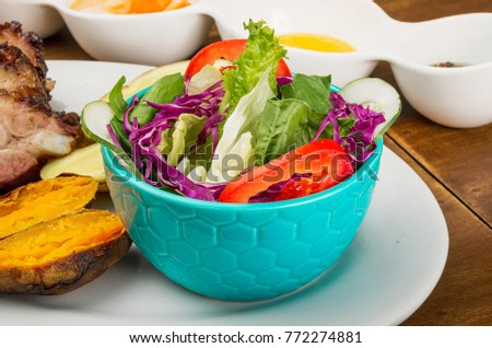 grilled sweet potato with salad