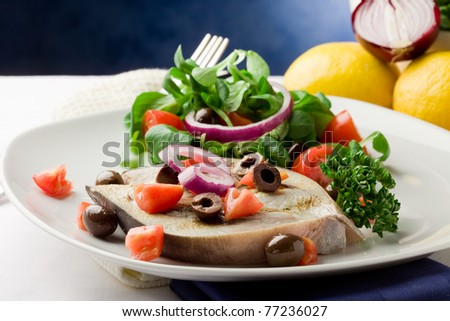 grilled swordfish with mixed salad on white towel in front of blue background