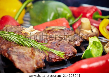 Grilled T-bone steak - stock photo