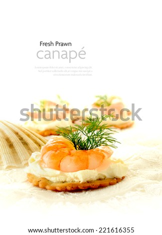 Grilled Tiger Prawn with chilli and garlic with dill garnish against a white background. Copy space. - stock photo