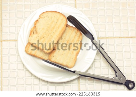 Grilled toasts for breakfast