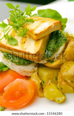 Grilled tofu on pest and potato