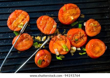 grilled tomato - stock photo