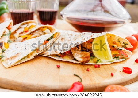 grilled tortilla - stock photo