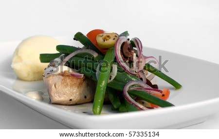 Grilled Tuna Steak with Nicoise Salad, Aioli & Balsamic Dressing - stock photo