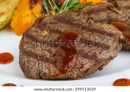 Grilled Veal steak with rosemary and vegetables