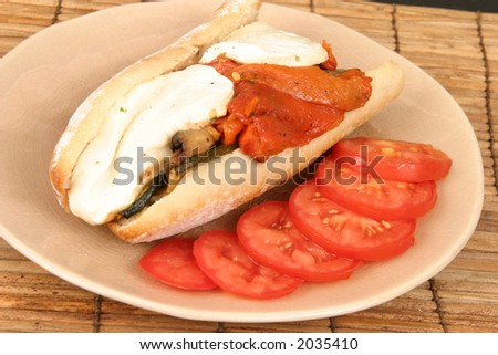 Grilled Vegetable Hero Sandwich with Cheese - stock photo