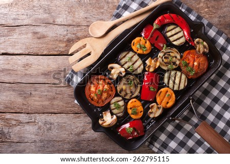 grilled vegetables in a pan grill. horizontal view from above  - stock photo