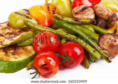 grilled vegetables isolated on a white background