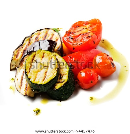 Grilled vegetables isolated on white background - stock photo