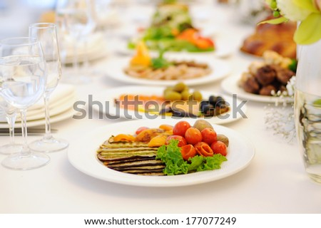 grilled vegetables on table at restaurant