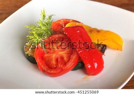 grilled vegetables peppers tomatoes Eggplant on plate
