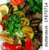 Grilled Vegetables Plate Served with Parsley and Red Pepper - stock photo