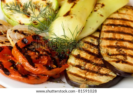 Grilled vegetables prepared to eat on kitchen - stock photo