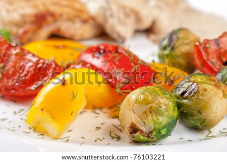 grilled vegetables with mushroom sauce and pork steak - stock photo