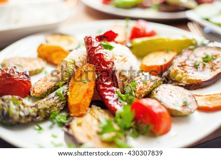 Grilled vegetables with rice. Closeup picture