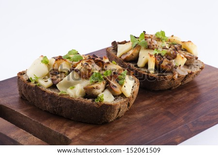 grilled vegetarian cheese and mushroom sandwich - stock photo