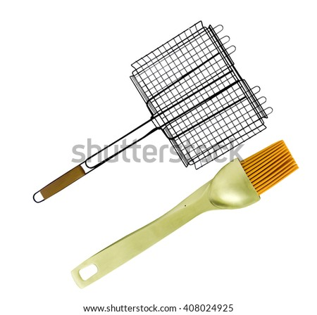 Grilling Basket with Baste Brush - stock photo