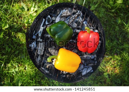 Grilling bell peppers on barbecue grill - stock photo