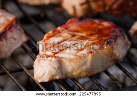 grilling pork tenderloins seasoned with sea salt and spices on an outdoor grill - stock photo