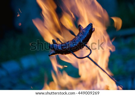 Grilling sausages over a campfire  - stock photo