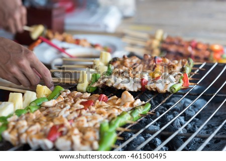 bbq grill on street thailand stock photo 586918934. Black Bedroom Furniture Sets. Home Design Ideas