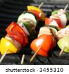 Grilling shishkabobs during a summer picnic at the park - stock photo