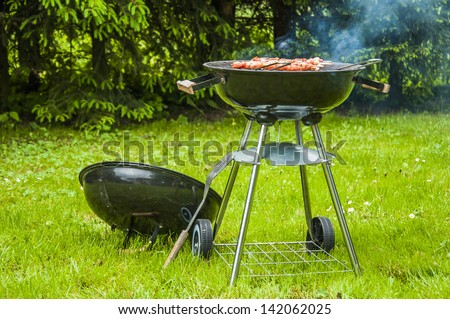 Grilling theme with barbecue stuff - stock photo