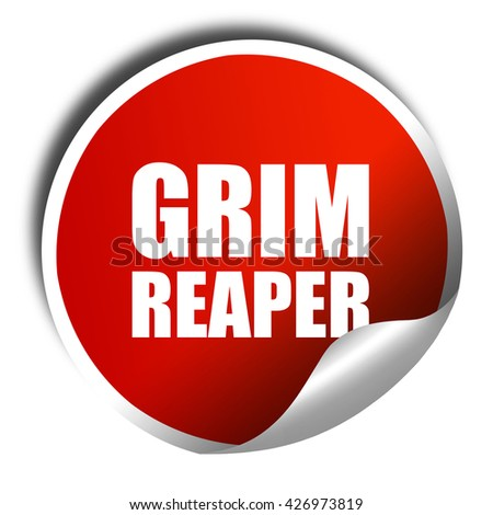 grim reaper, 3D rendering, a red shiny sticker - stock photo