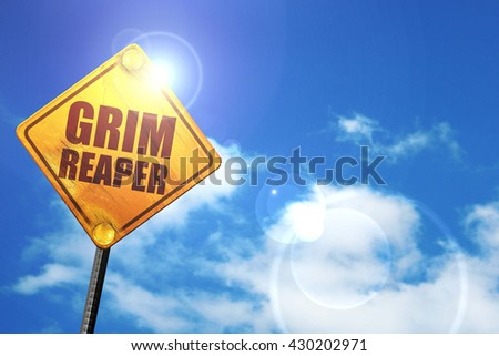 grim reaper, 3D rendering, glowing yellow traffic sign  - stock photo