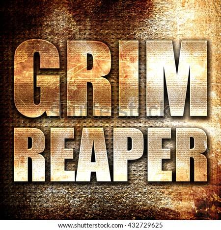 grim reaper, 3D rendering, metal text on rust background - stock photo