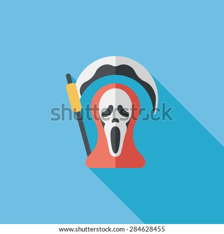 Grim Reaper flat icon with long shadow - stock photo